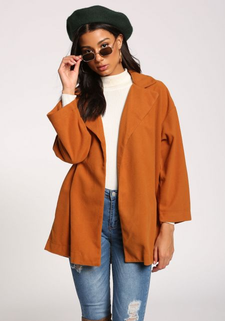 Camel Wide Sleeve Felt Coat