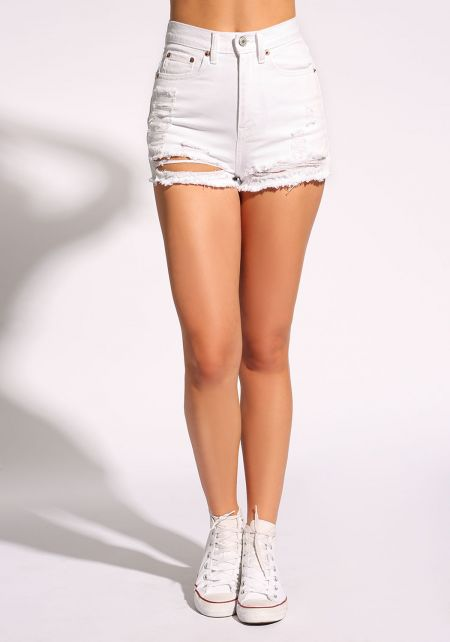 White High Rise Distressed Shorts