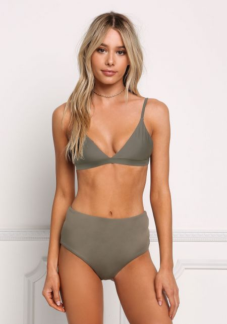 Taupe High Rise Swimsuit Bikini Bottoms