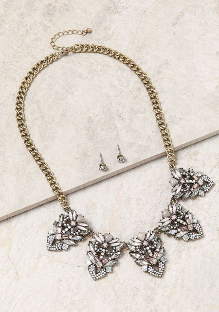 Multi Rhinestone & Pendant Chain Necklace