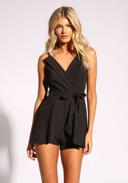 Black Layered Tie Front Romper