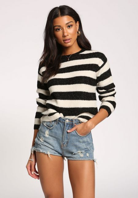 Black Stripe Pullover Sweater Top
