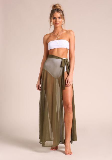 Olive Sarong Cover Up Mesh Maxi Skirt
