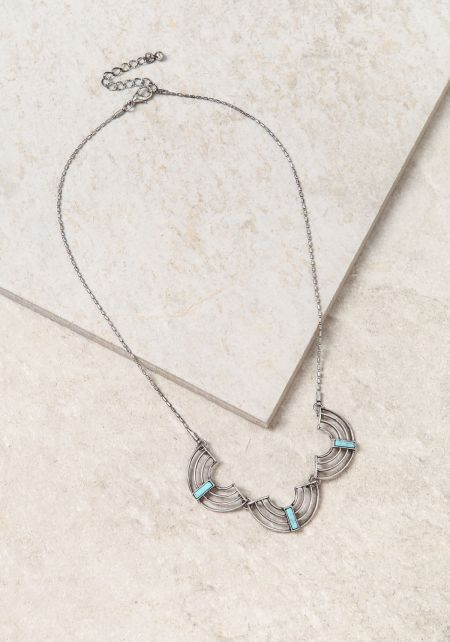Turquoise Three Stone Cut Out Delicate Necklace