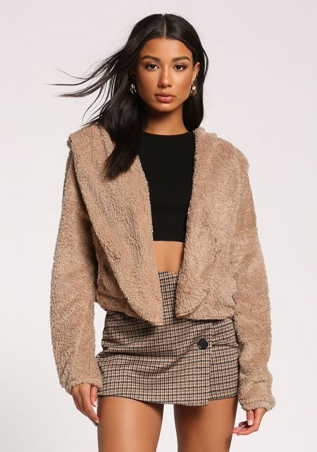 Mocha Faux Fur Hooded Cropped Coat