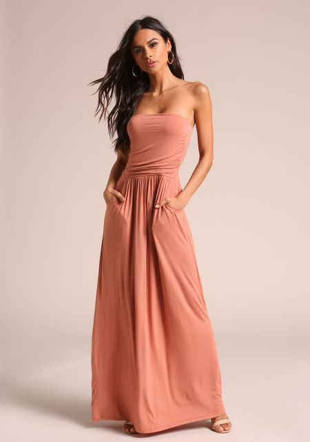Apricot Strapless Ruched Pocket Maxi Dress