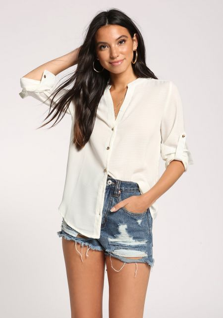 Off White Button Down Collared Blouse