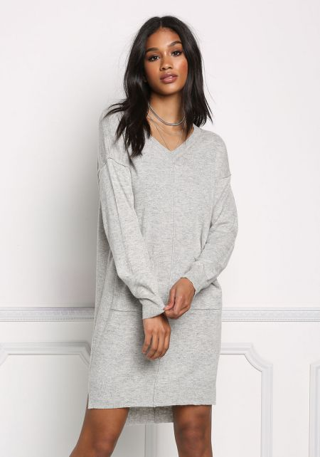 Heather Grey Pocket Soft Knit Dress