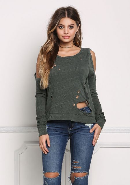 Olive Cold Shoulder Distressed Top