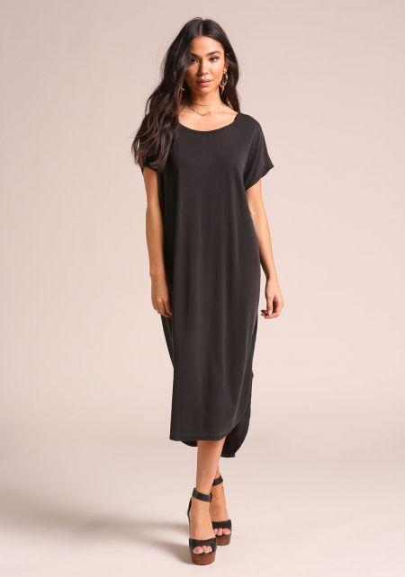 Black Hi-Lo Shift Midi Dress