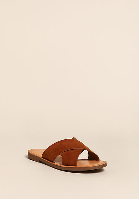 Tan Cross Over Slip On Sandals