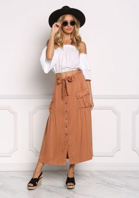 Camel Button Down Pocket Maxi Skirt