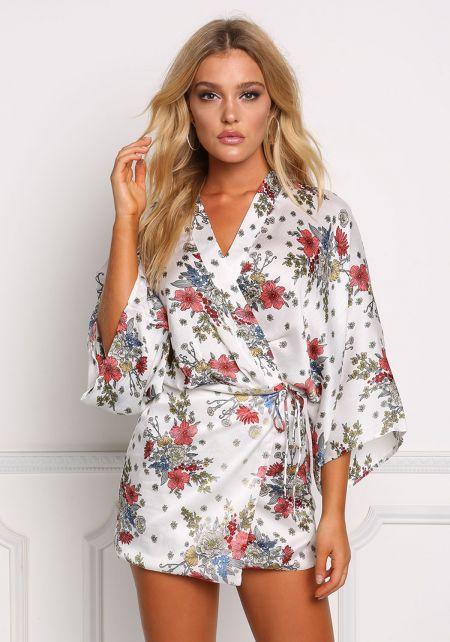 Off White Floral Lustrous Crepe Kimono Wrap Dress