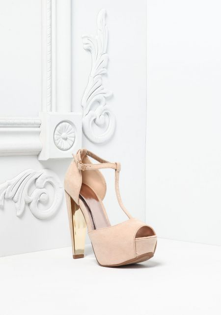 Nude Suedette T-Strap Ankle Heels