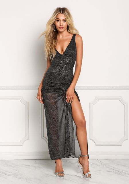 Black and Silver Sparkle Ruched High Slit Maxi Dre