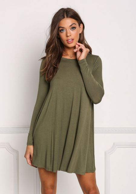Olive Jersey Knit Long Sleeve Shift Dress