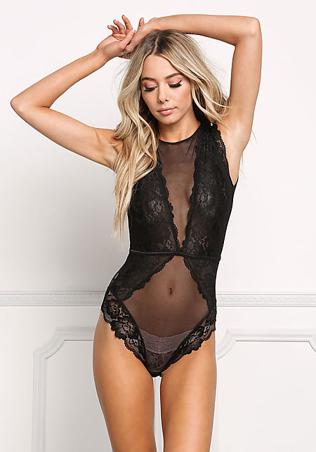 Black Sheer Lace Trim Lingerie Bodysuit