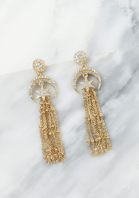 Gold Rhinestone Moon Tassel Earrings