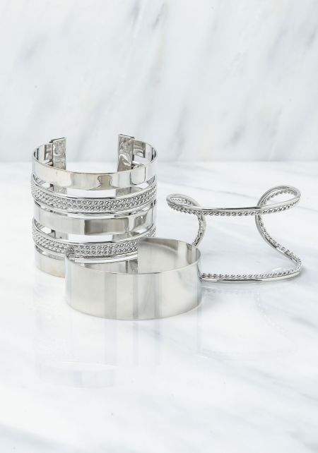 Silver Assorted Cuff Bracelet Set