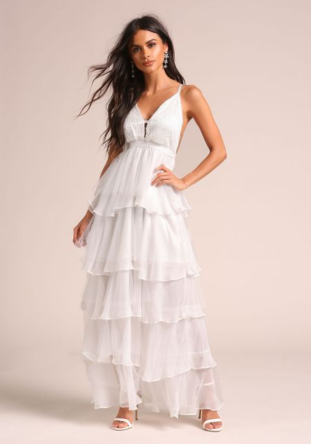 Off White Tulle Tiered Embroidered Maxi Dress
