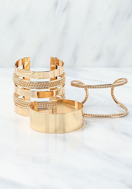 Gold Assorted Cuff Bracelet Set