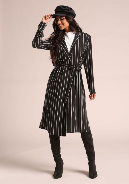 Black Pinstripe Longlined Duster Jacket