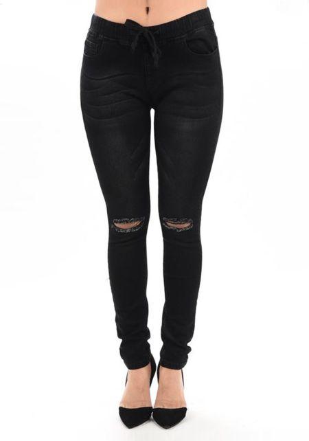 Black Knee Slit Drawstring Skinny Jeans