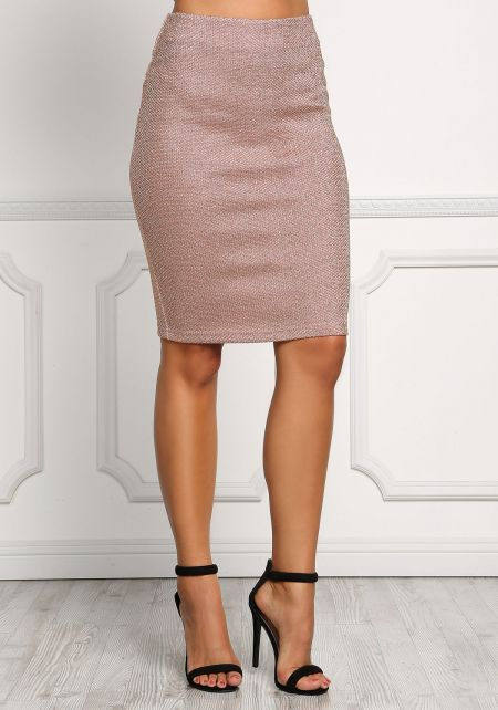 Rose Gold Metallic Knit Skirt