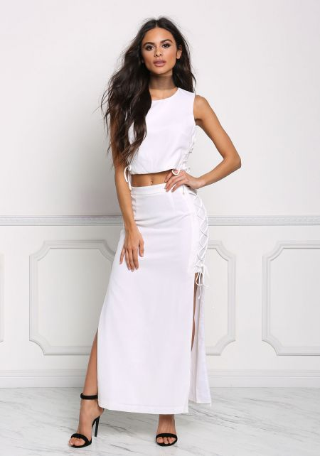 White Side Lace Up Slit Maxi Skirt
