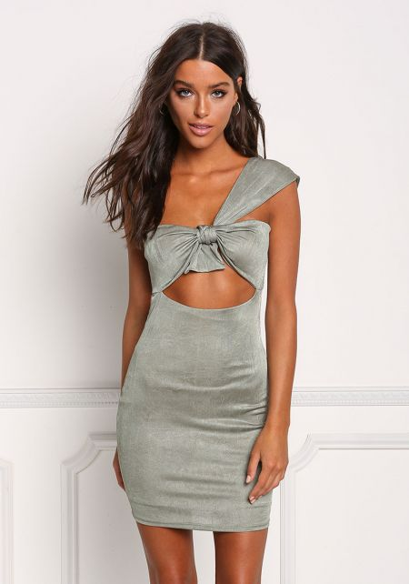 Sage One Shoulder Cut Out Bodycon Dress