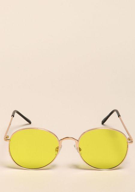 Yellow Round Retro Sunglasses