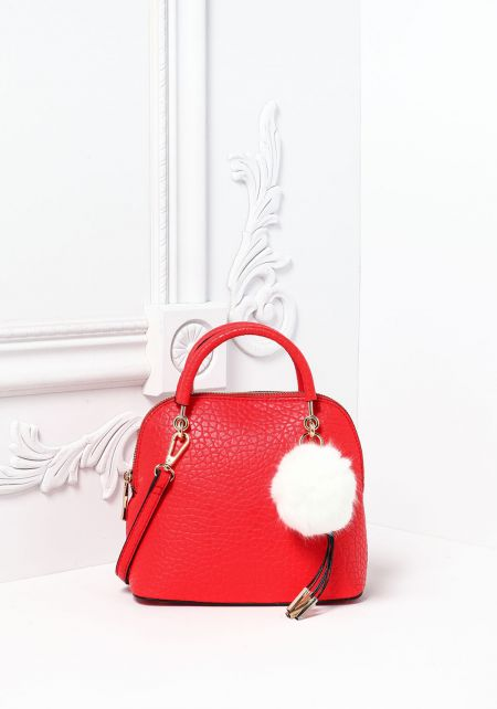 Red Textured Leatherette Pom Pom Mini Tote Bag