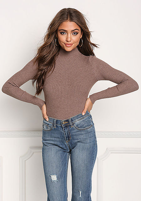 Taupe Mock Neck Ribbed Knit Top