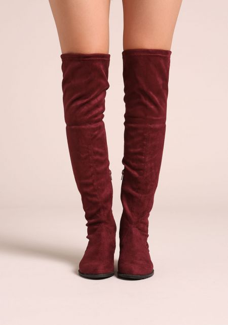 Burgundy Suedette Over The Knee Short Heel Boots