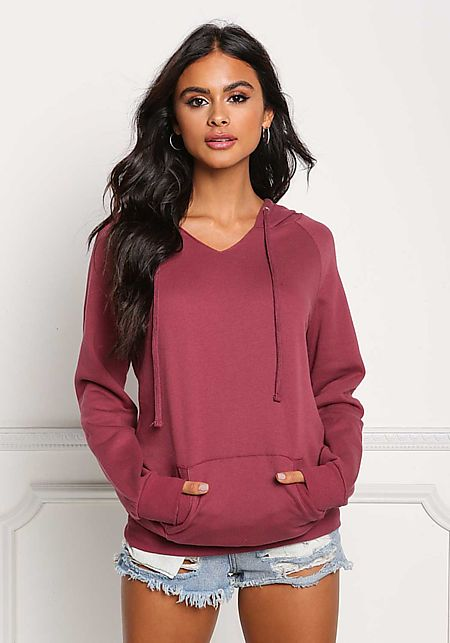 Mauve Pocket Hooded Pullover Sweater