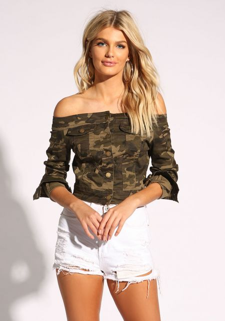 Camouflage Off Shoulder Cropped Denim Jacket