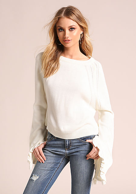 Ivory Ruffle Bell Sleeve Knit Sweater Top