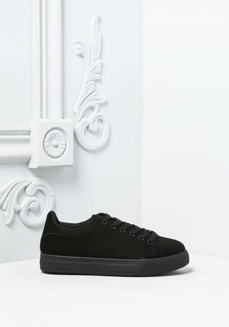 Black Suedette Sneakers