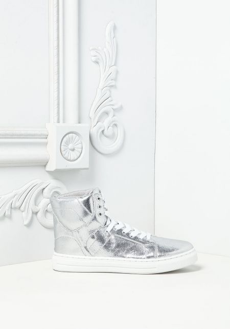Silver Metallic High Top Sneakers