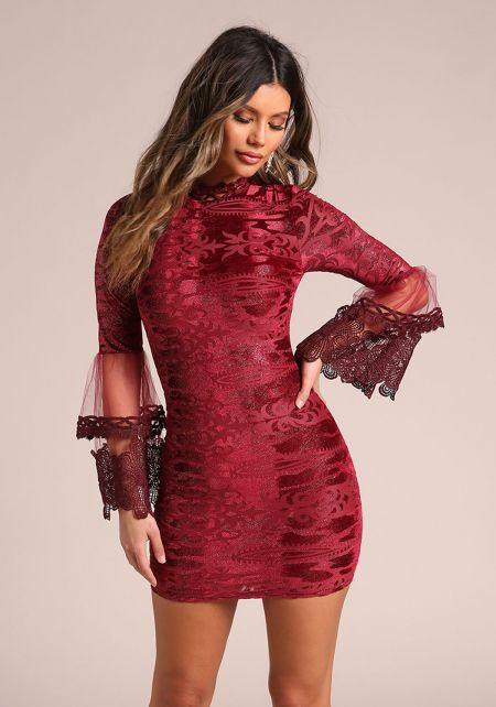Burgundy Sparkle Embroidered Tulle Bell Sleeve Dre