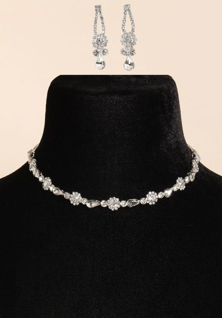 Silver Floral Rhinestone Choker & Earrings Set