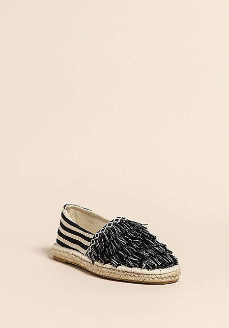 Black Stripe Fringe Canvas Flats