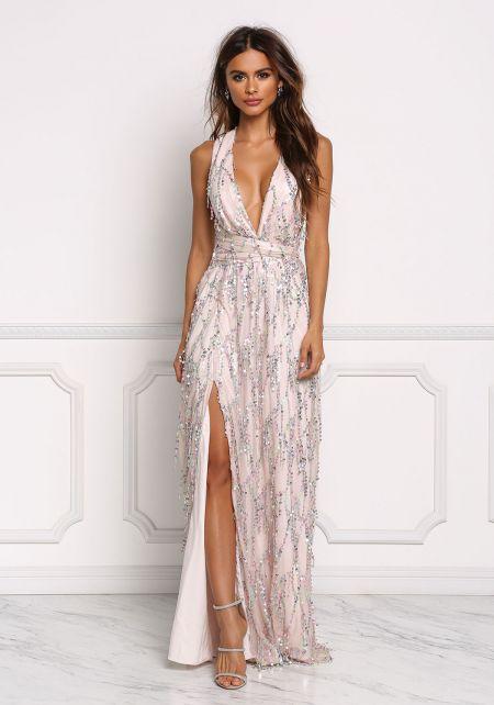 Blush Sequin Multi Wrap Slit Maxi Gown