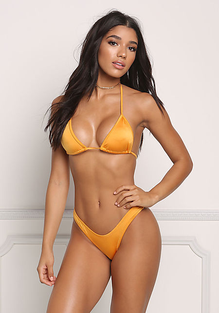 Mustard Metallic Low Rise Swimsuit Bikini Bottoms