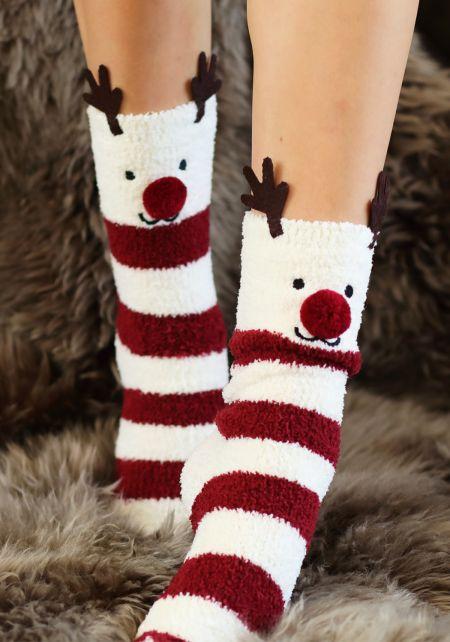 Burgundy Reindeer Stripe Plush Socks
