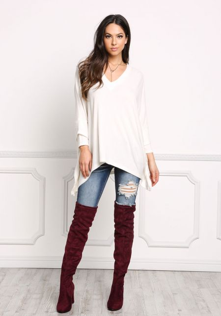 Ivory Soft Knit Pointed Sweater Top