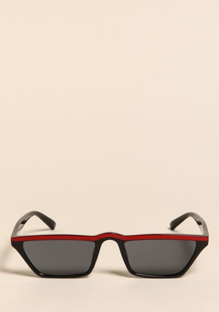 Black and Red Striped Rectangular Sunglasses