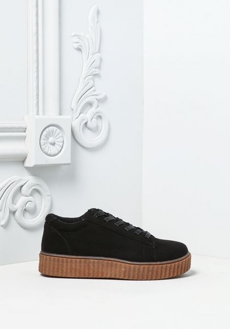 Black Two Tone Suedette Platform Sneakers