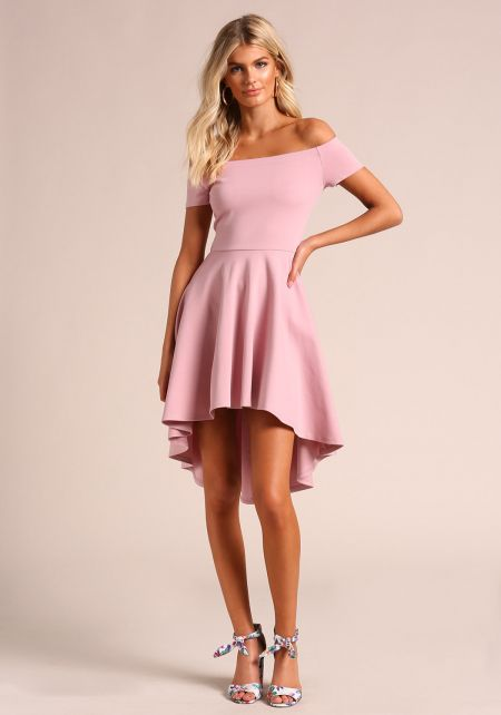 Mauve Off Shoulder Hi-Lo Flared Dress