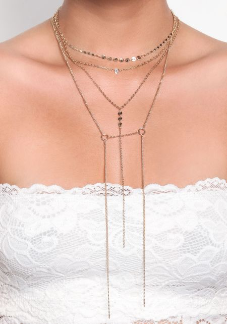 Gold Layered Stud Delicate Necklace